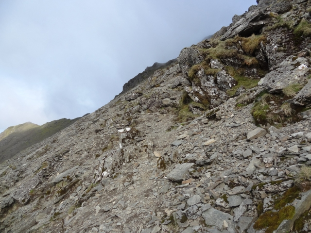 It seems that Snowdon's peak does a nice line in steepness! The loose rock and scree make progress a lot more difficult too!
